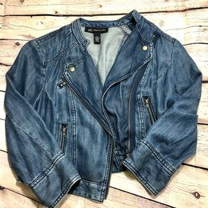 INC International Cropped Zip-Up Jean Jacket